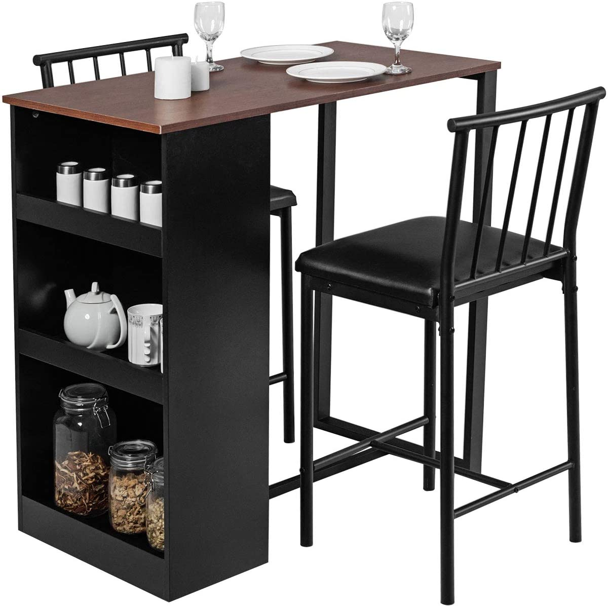 Combohome 9 Piece Pub Dining Set Wooden Counter Height Table Set ...