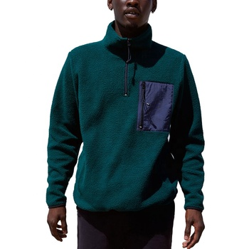 Men Street Wear Relaxed Fit Half Zip Unisex Stylish Solid Fleece Hoodies Pullover with Contrast Zip Pocket