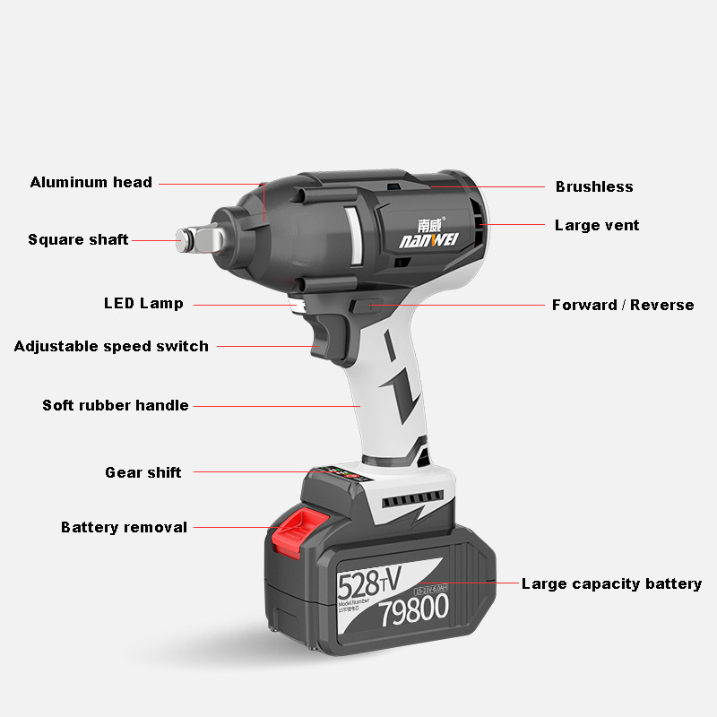 Heavy Car repair 600N.m Strong power Cordless electric impact wrench Brushless 528TV 2 batteries multifunction wrenches with kit
