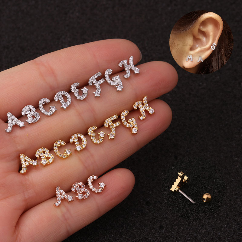 Silver Bling Initial Earring Personalized Jewelry