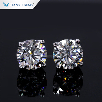 Tianyu Gems .5ct 1ct Moissanite Diamond 14k White Rose Gold Earrings For Women