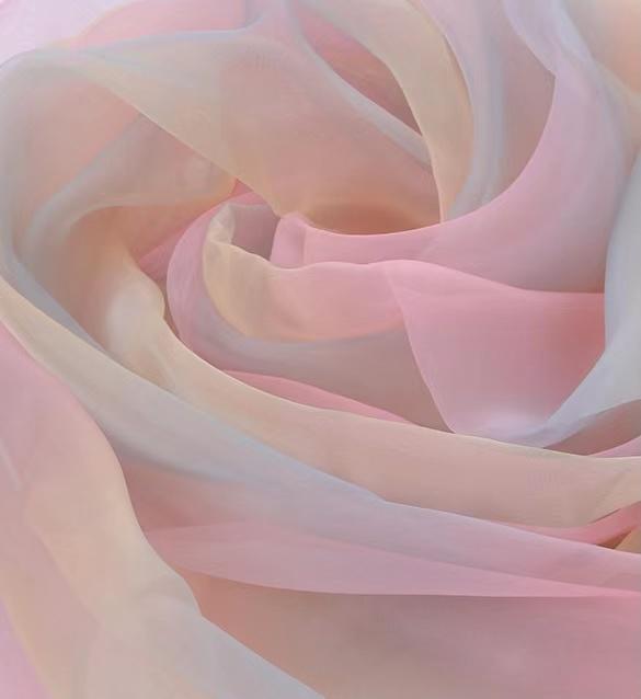 Hot sell polyester hand soft gradient digital print organza silk fabric for dress