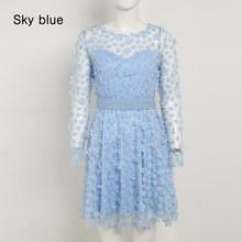 Новинка лета 2020, элегантное женское мини-платье, небесно-голубое, бежевое, розовое кружевное платье с длинным рукавом, вечерние платья знаме...(Китай)