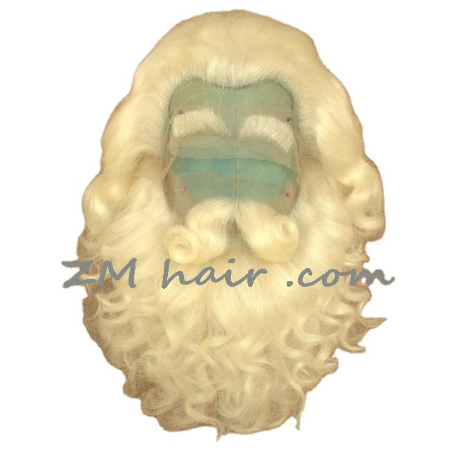2019 Père Noël Perruque Barbe Fête De Noël Robe Blanc Cheveux Bouclés Adulte Cosplay @