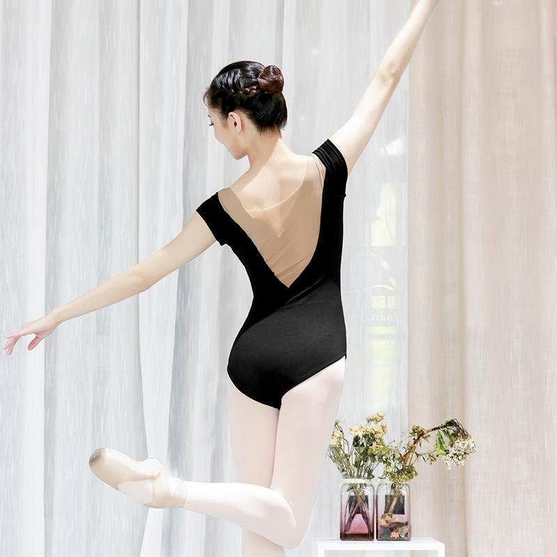 Women Ballet Leotard Sexy Mesh Splice Ballet Dancewear