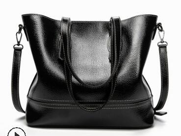 Женская сумка из натуральной кожи, Большая вместительная сумка-тоут в стиле ретро, простая женская элегантная сумка-тоут, классическая сумк...(Китай)