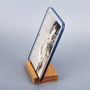 4X6 Wooden Acrylic Magnetic Acrylic Photo Frame With Wooden Base