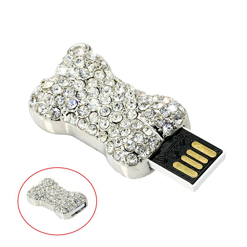 Bone Usb Memory Stick U Disk 4GB 8GB 128GB 64GB 32GB 16GB Pendrive Personalized gifts crystal Necklace Flash drive USB 2.0 Bone - USBSKY   USBSKY.NET