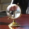 clear crystal world map ball