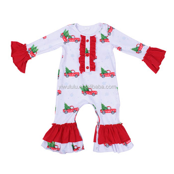 Fashion Baby Girl Romper Christmas Truck Tree Print Icing Ruffled Sleeve Baby Christmas Romper