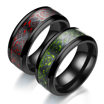 Fashion New Noble Blue Red Carbon Fiber Dragon Ring Trendy Men Jewelry Carbon Fiber Ring