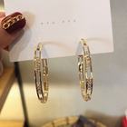 Hoop S925 Sterling Silver Needle Gold Plated Hoop Earrings Hollow Out Rhinestone Crystal Circle Round Hoop Earrings Women Earrings
