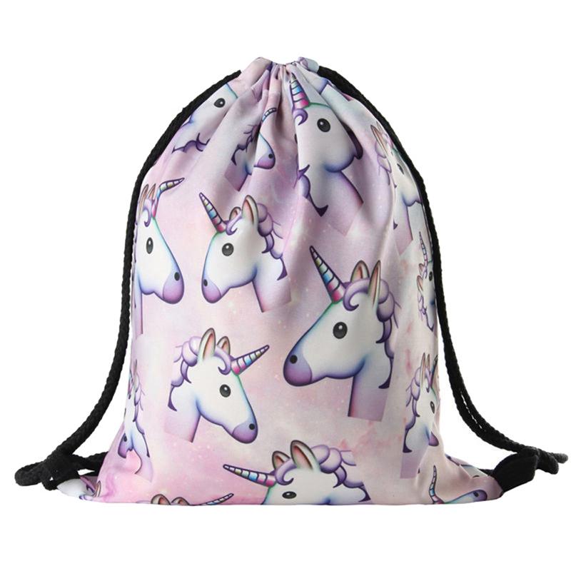 Sport drawstring bag high quality waterproof lightweight gym yoga shoulder unicorn printing Drawstring backpack Bag