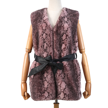 Wholesale Brown V-neck Snake pattern Winter sleeveless PU leather belt faux Rabbit fur vest for women autumn warm