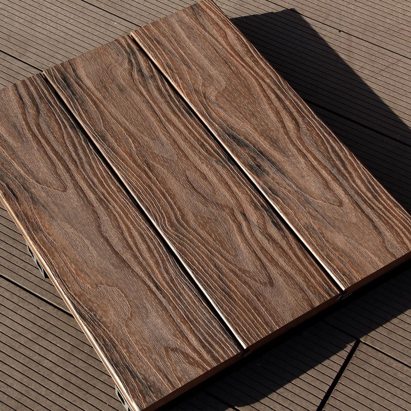 European Quality Standard Wood Grain Embossing Surface Floor Decking With Edge Trimmings