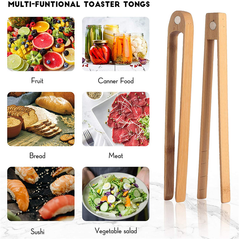 Bambus Bbq Wooden Wooden Tweezers Large Food Grade Ice Disposable Bamboo Mini Magnetic Tongs With Custom Package