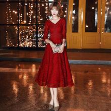 It's Yiiya выпускное платье цвета Бургунди с рукавом три четверти vestidos de gala элегантное платье до колена женские вечерние платья LF068(Китай)