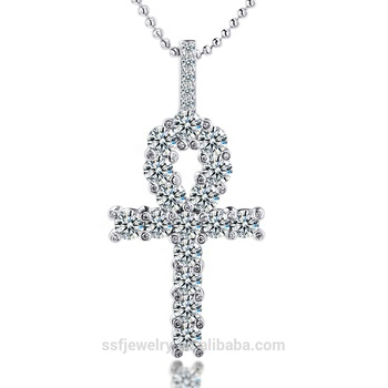 hiphop iced out cz diamond 925 sterling silver ankh cross pendant