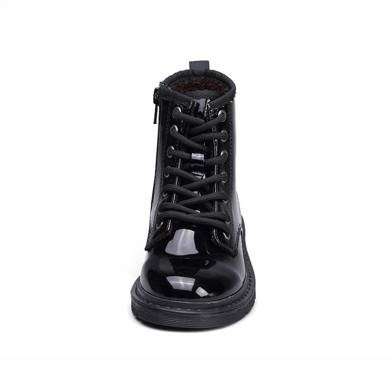 2021 Стильные черные детские Нескользящие ботинки из термопластичной резины с помпоном из лакированной кожи, удобные ботинки с мехом для девочек