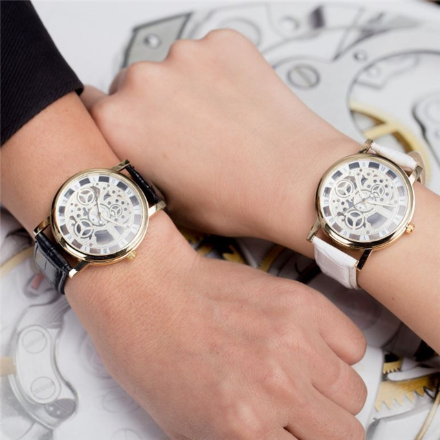 Luxury mens skeleton wrist watches men stainless steel skeleton watch