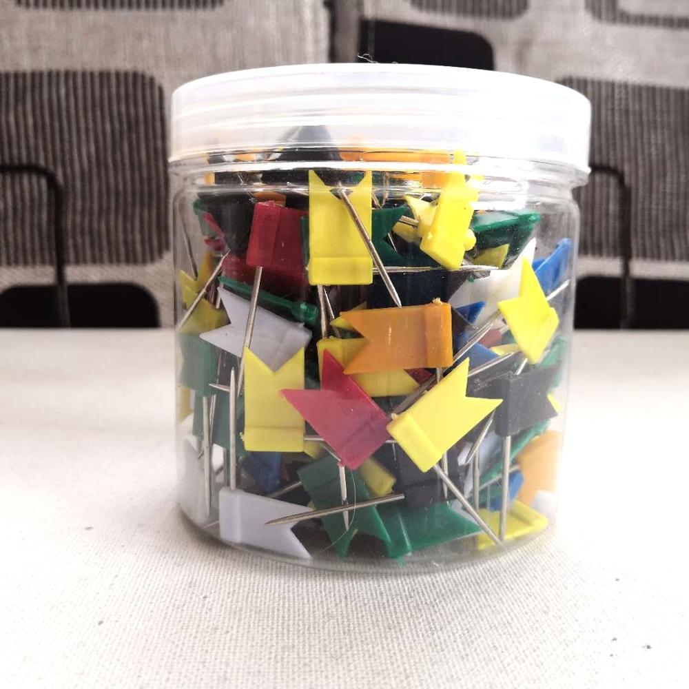 300 шт./упаковка, разноцветные декоративные булавки для флага со стальной точкой и пластиковой головкой