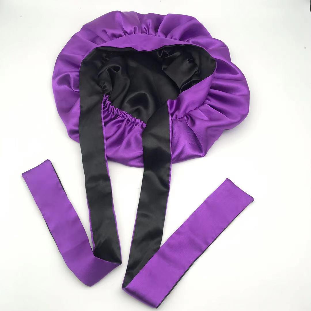 cheaper logo fee no logo satin bonnet long plain wholesale custom long stain bonnet vendor tie woman silk bonnets