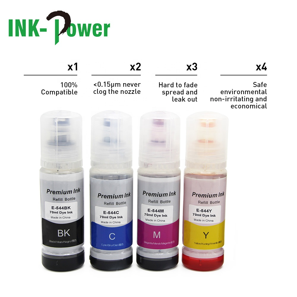 INK-POWER 544 T544 Premium Compatible Color Compatible Bulk Bottle Water Based Refill Dtg Eco Ink for Epson L3110 L3150 Printer