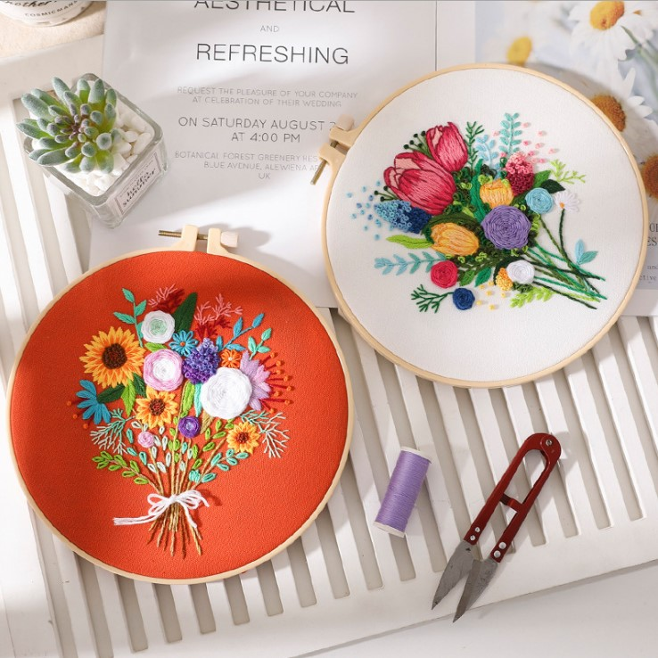 NEW arrival AMAZON 2021 hand diy embroidery kit for starter kit with instructions flowers NEW ARRIVAL AMAZON 2021 hand diy embroidery kit for adults starter kit with instructions flowers and leaf