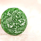 Jade Dragon Pendant Jadejade Green Jade Dragon Phoenix Pendant Necklace Amulet Fashion Jewelry Chinese Women Gifts Carved Charm Men Natural Jadeite