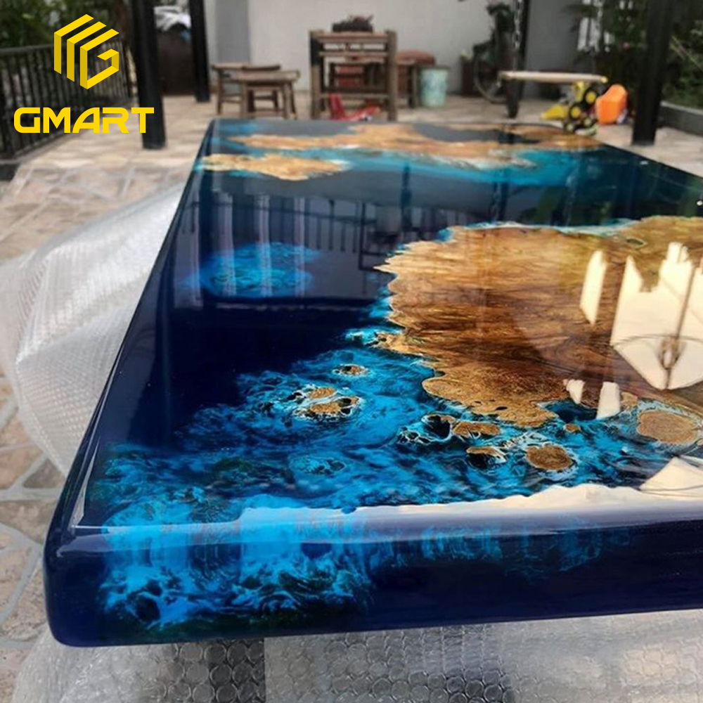Gmart High Quality Custom Made Epoxy Resin Tables Solid Wood, Custom Size Vintage Furniture Epoxy Wood Tables/