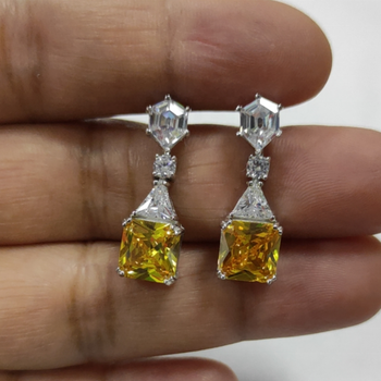 Top Sale Big Square Shape Yellow CZ Stones 925 Sterling Silver Drop Earrings