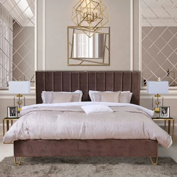 king size hot sale latest modern cheap high bed tufted strip luxury brown leather bed bedroom set
