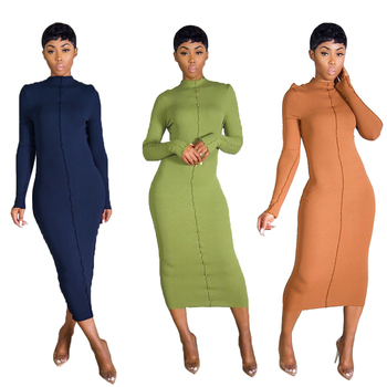 D95690 Casual fashion bodycon solid color long sleeve maxi dresses women lady elegant for knitted fabric home wear