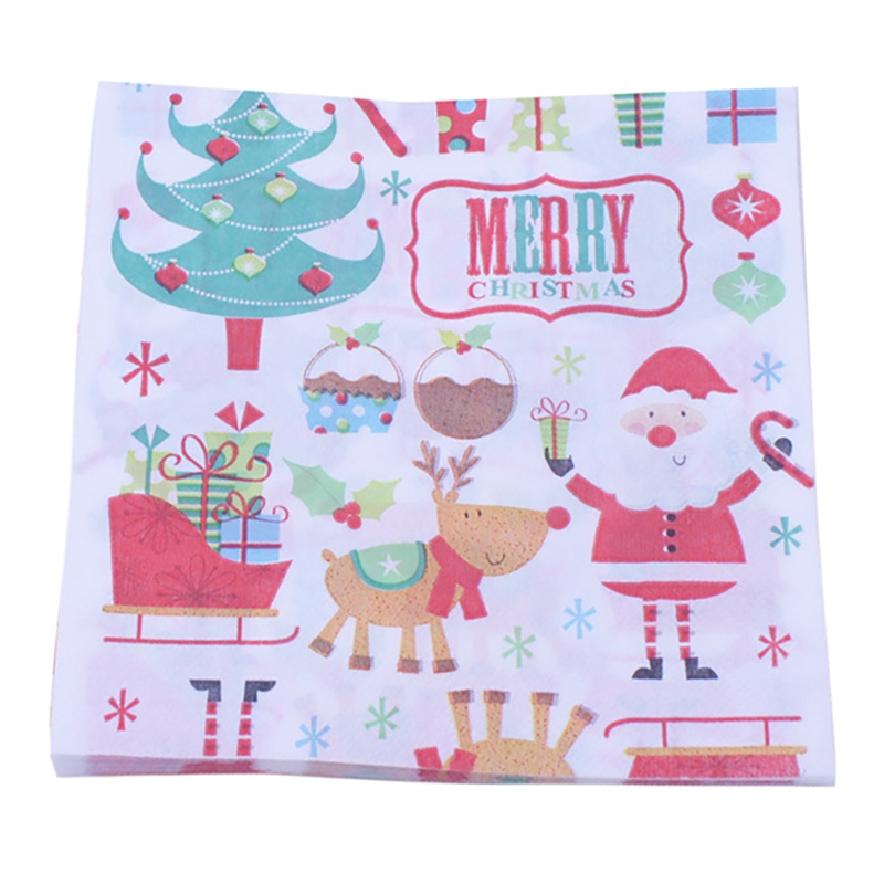 Niedlichen Cartoon-Muster Serviette Papier, Cocktail Party Weihnachten Servietten 20 Pcs
