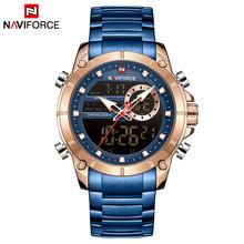 Часы NAVIFORCE мужские, спортивные, аналоговые, цифровые, из нержавеющей стали(Китай)