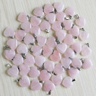 Natural pink Quartz Crystal heart stone pendants for jewelry making charms trendy accessories 20mm