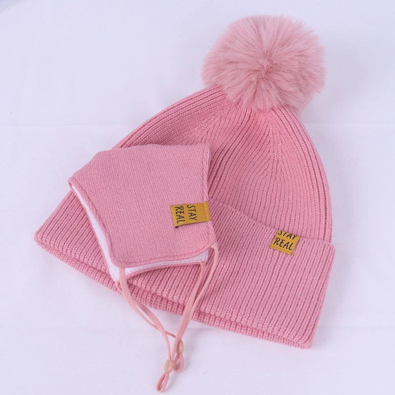Face Cover Mask Knitted Ladies Hat Women And Kid Knit Beanie Hat Winter Pom Pom Warm Face Masks Winter Hats Knit Beanie