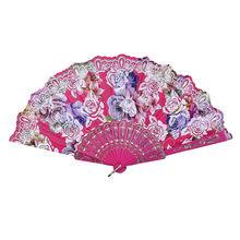 Цветочные фанаты в винтажном стиле, лучший китайский стиль, танцевальная Свадебная вечеринка, кружево, шелк, складной Ручной Веер, роза, бро...(Китай)