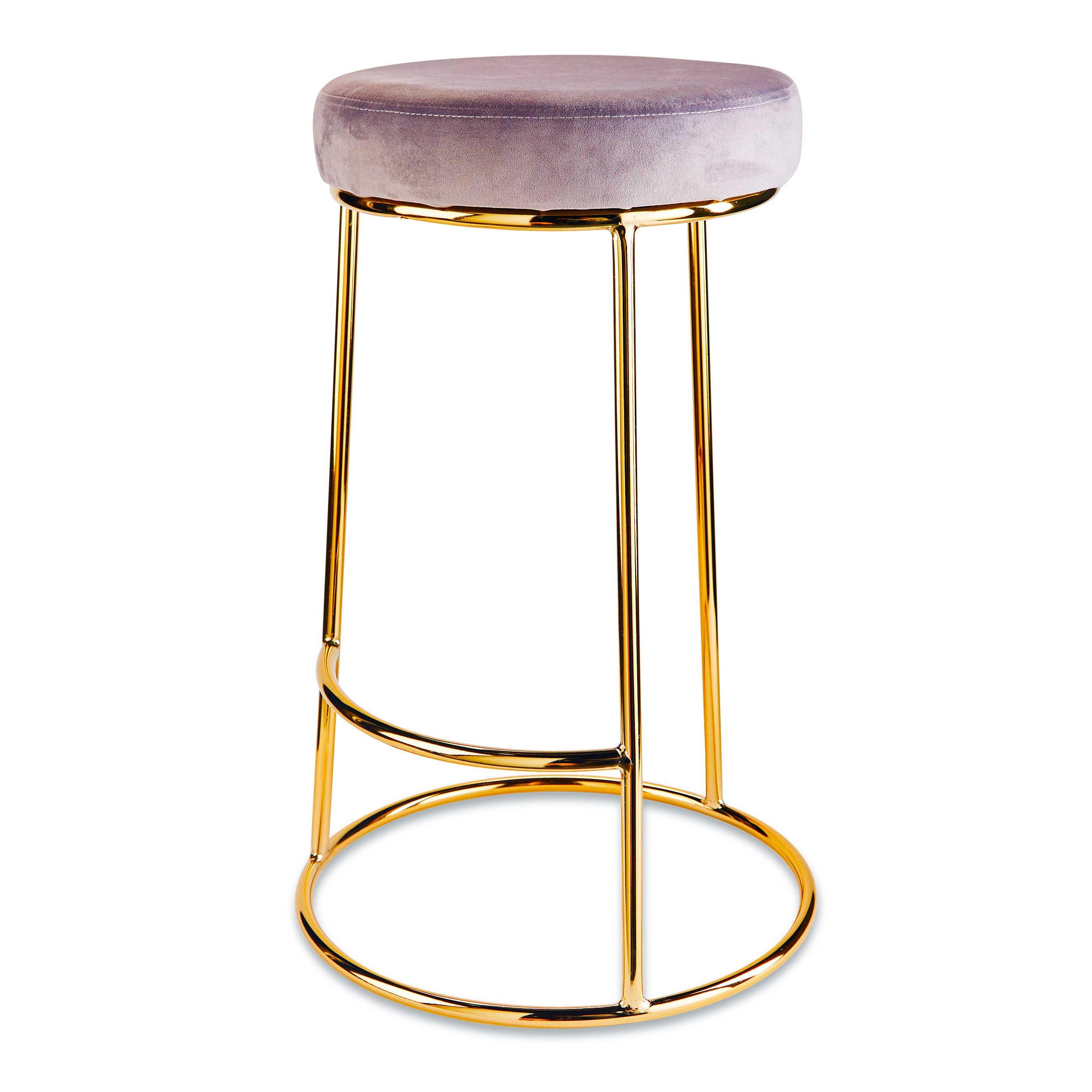 Modern  pink velvet counter kitchen bar stools chair  gold  backless