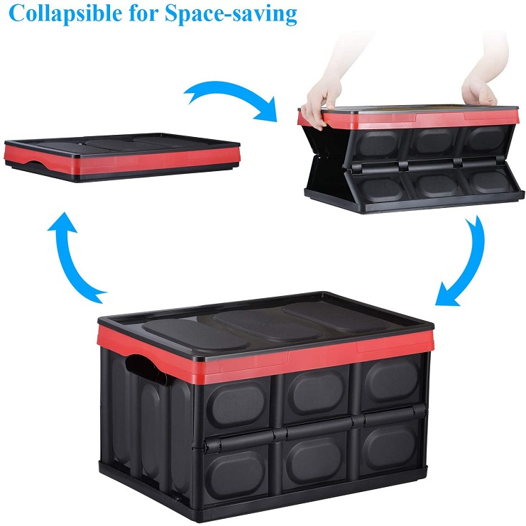 Collapsible Storage Box Saving Space Trunk Foldable Organizer Durable with Non Slip Bottom Easy to Carry Lightweight Storage Bin