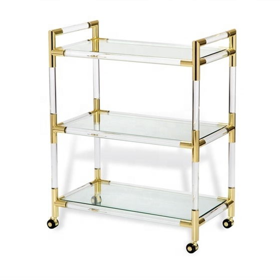 Clear Serving Trolley Cart,Three Tiers Hotel Trolley,Acrylic Tea Serving Trolley