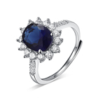 Adjustable Ring Rings 925 Cz Ring Custom Adjustable Luxury Women'S Engagement Anniversary Gemstone Oval Blue Sapphire 925 Sterling Silver Ring Jewelry Anillos