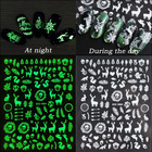 Christmas Nail Decoration Luminous 3D Christmas Nail Stickers For Art Decoration Self-adhesive Elk Snowflake Nail Decals