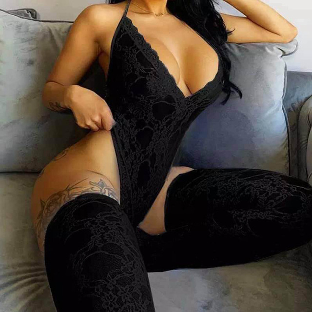wholesale 2021 new year adult valentines onesie day lace sexy onesis with socks two piece set for women
