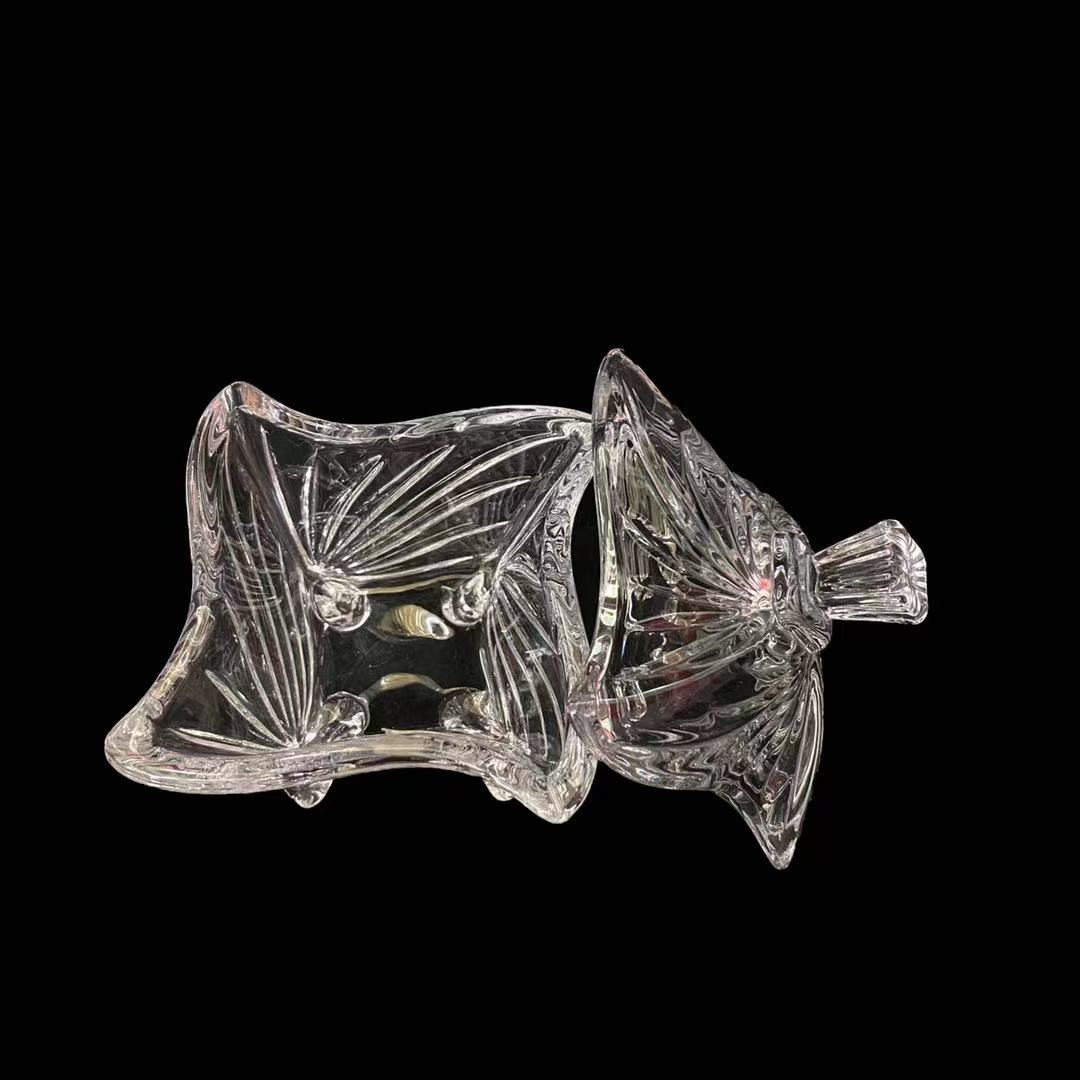2021 new four-legged glass candy jar mini jewelry box with lid for wedding holiday and home