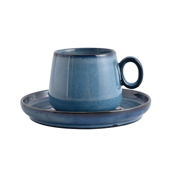 8oz blue vintage handmade ceramic coffee mug and plate for coffee use in home