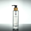 frosted glass bottle with bamboo pump