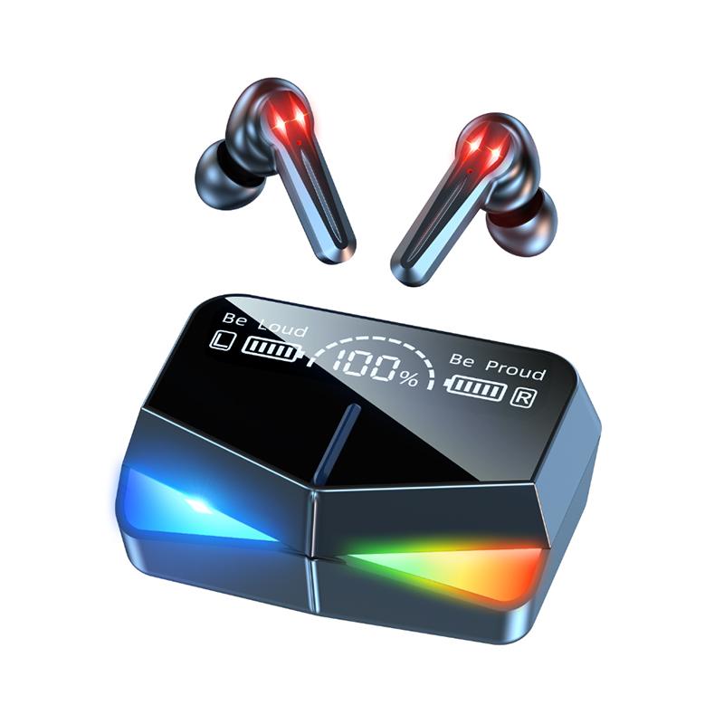 OEM Custom Logo Running Mirror M28 Tws,Ipx7 waterproof In-ear Hifi Music Gaming Headphones with Usb Led Charger