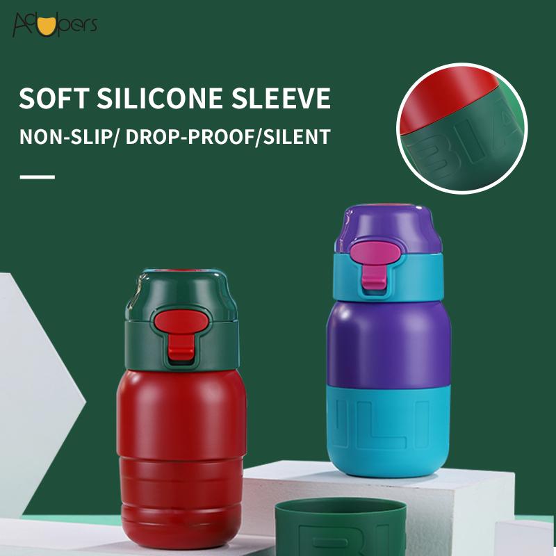 SL-205830 300ML Mini Cute Flip Top Insulated Double Wall Children School Water Bottle 304 Stainless Steel Vacuum Bottle