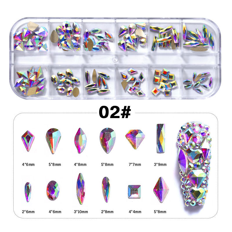 Многоразмерные круглые стеклянные бриллиантовые кристаллы для ногтей, набор страз для творчества